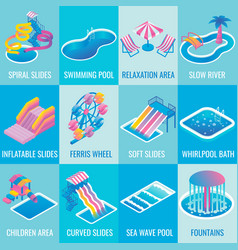 Water park attractions flat isometric icon vector