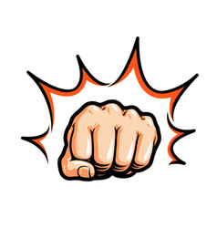 hand fist punching or hitting comic pop art vector image vector image