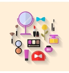 Makeup Cosmetic and Beauty flat Icons vector image vector image