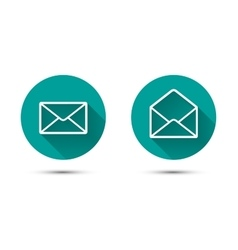 Open and close envelope icons with long shadow on vector image