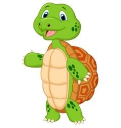 Cute turtle cartoon presenting vector image vector image