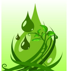 Green leaves with drops vector image vector image
