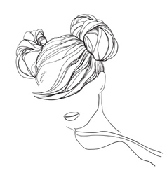Sketch of the young woman vector image