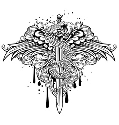 sword wings snake patterns vector image vector image