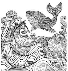 whale and ocean waves coloring page vector image