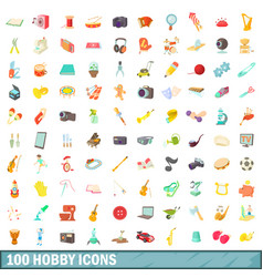 100 hobby icons set cartoon style vector