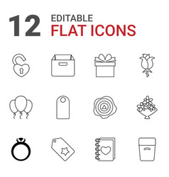 12 gift icons vector