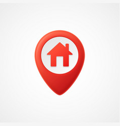 3d map pointer with home icon map markers vector image