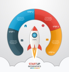 4 steps startup circle infographic with rocket vector image
