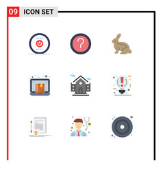9 universal flat color signs symbols laptop e vector