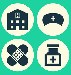 Antibiotic icons set collection of bandage cap vector