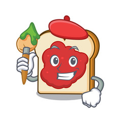 artist bread with jam character cartoon vector image