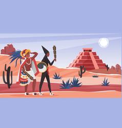 Aztec tribe people in wild desert landscape vector