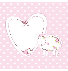Baby pink background with sheep vector