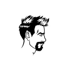 bearded men face profile hipster head with vector image