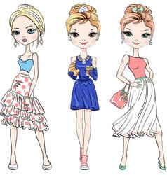 Beautiful fashion girls top models vector