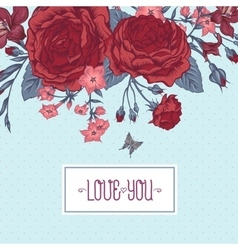 Beautiful Victorian Roses in Vintage Style for vector image