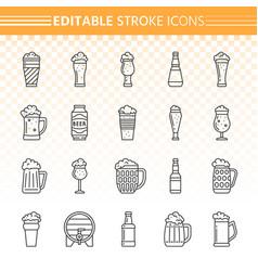 Beer simple black line icons set vector