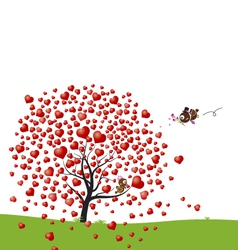 Bird and heart tree design of love vector image