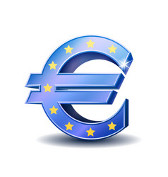 blue euro sign isolated on white background vector image