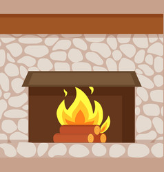 Burning fire wooden logs fireplace made of stone vector