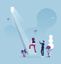 Businesswoman climbing stair for success vector