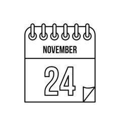 Calendar november twenty fourth icon vector