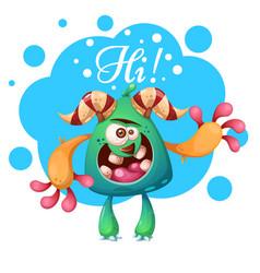 cartoon monster characters hi heello vector image