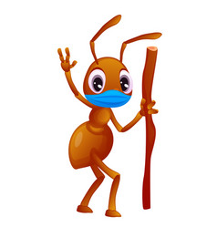 Cartoon style ant with a stick in hand is wearing vector