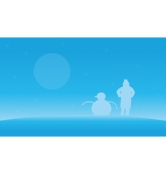 Christmas landscape people and snowman silhouettes vector