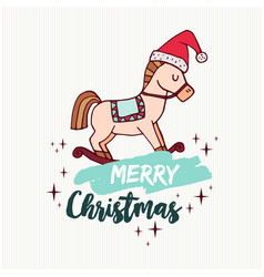 christmas rocking horse toy holiday cartoon card vector image