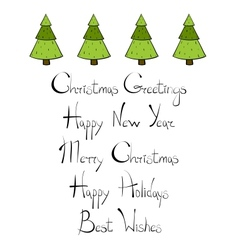 Christmas Trees New Year Lettering vector image