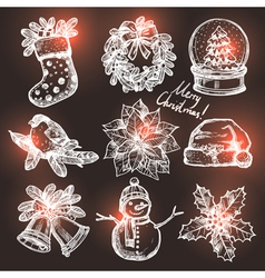 Collection Of Christmas Sketchs vector image