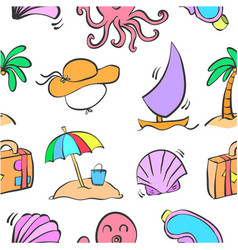 Collection of summer element doodles vector