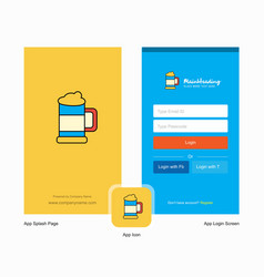 company beer glass splash screen and login page vector image