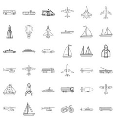concrete mixer icons set outline style vector image