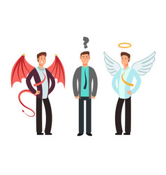Confused businessman with angel and devil over vector