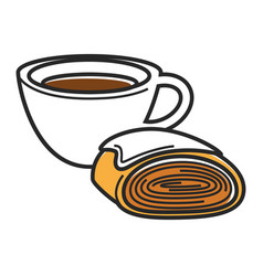Cup of hot coffee and tasty bun of puff dough vector