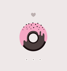 cute chocolate donut with pink glaze on top vector image