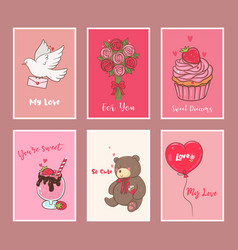 cute collection for valentine s day festive set vector image