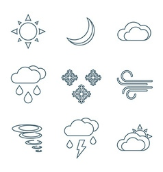 dark outline weather forecast icons set vector image