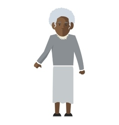 Dark skin senior woman icon vector