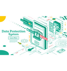 data protection system isometric cyber security vector image
