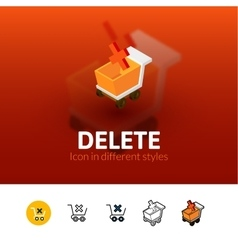 Delete icon in different style vector image