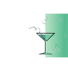 Drink cherry green card vector