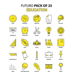 Education icon set yellow futuro latest design vector