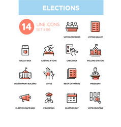 elections - modern line design icons set vector image