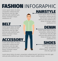 fashion infographic with adult guy vector image