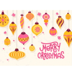 Festive Christmas greeting card with 50s retro vector