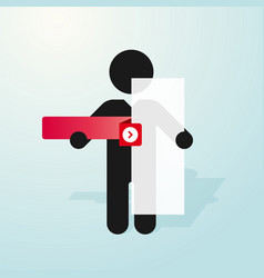 Figure man holds sign and a red tab vector